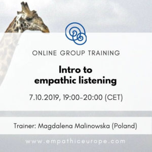 Intro to empathic listening Magdalena Malinowska Time for Empathy 2019